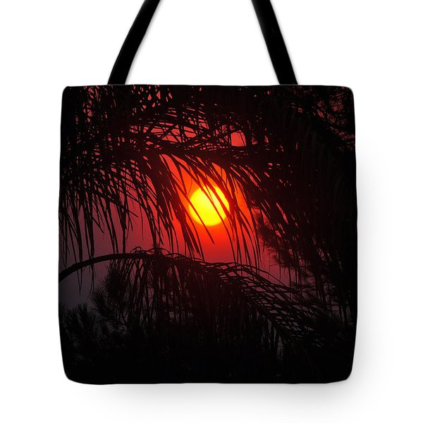 Fire In The Sky Tote Bag by Jay Milo