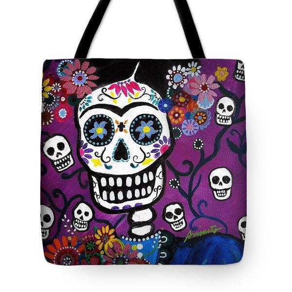 Frida Dia De Los Muertos Tote Bag by Pristine Cartera Turkus