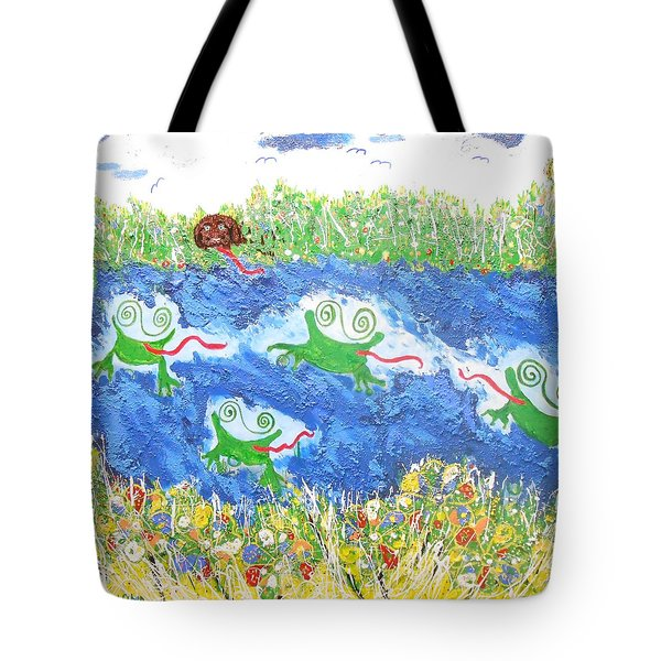 4 Frogs And A Bear Tote Bag