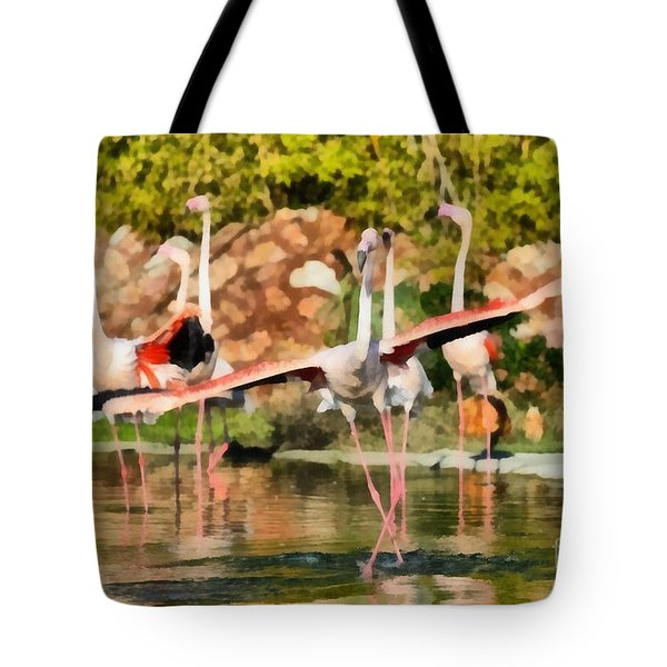 Greater Flamingos Tote Bag