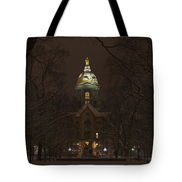 Notre Dame Golden Dome Snow Poster Tote Bag