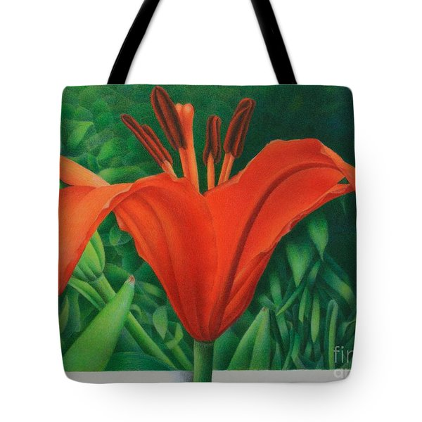 Orange Lily Tote Bag by Pamela Clements