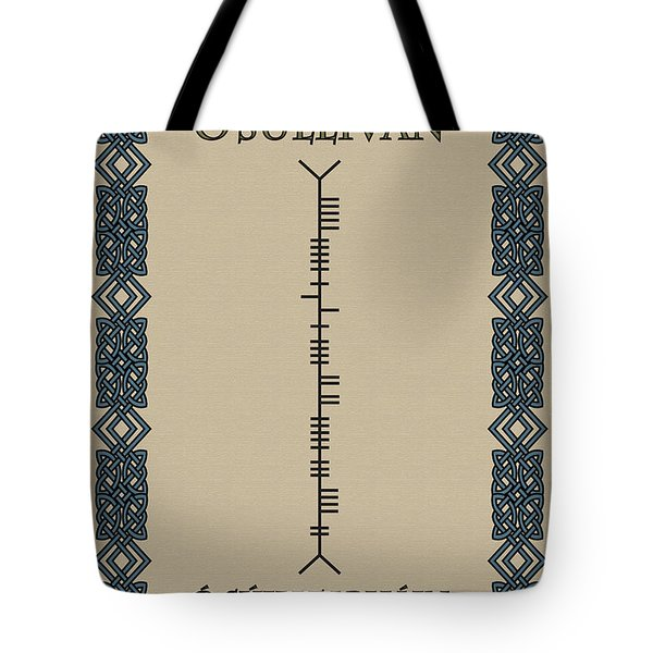 Tote Bag featuring the digital art O'sullivan Written In Ogham by Ireland Calling