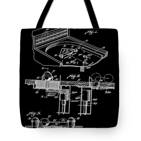 Pinball Machine Patent 1939 - Black Tote Bag by Stephen Younts