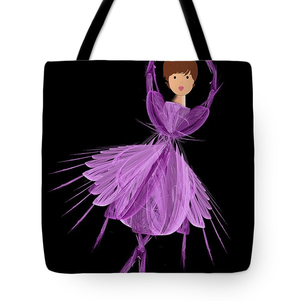 4 Purple Ballerina Tote Bag by Andee Design