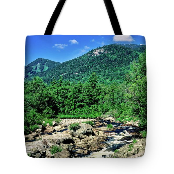 River Flowing Through A Forest, West Tote Bag