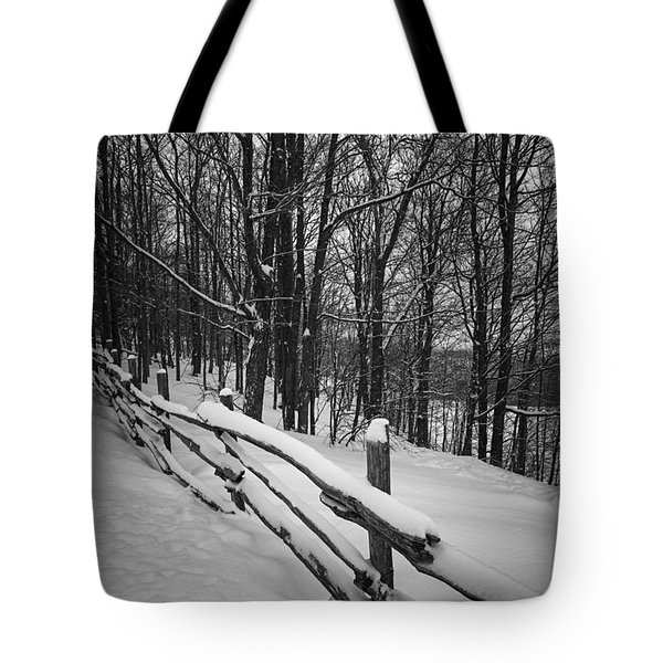 Rural Winter Scene With Fence Tote Bag