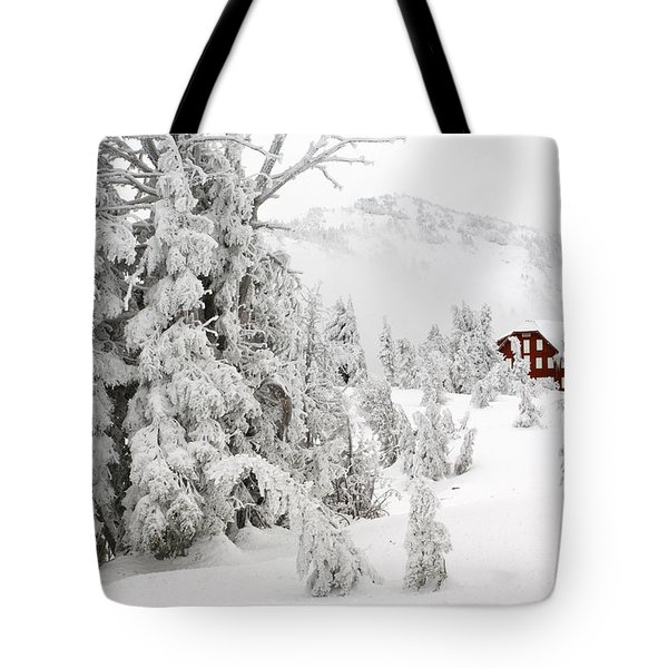 Snow And Ice On Trees Tote Bag by John Shaw