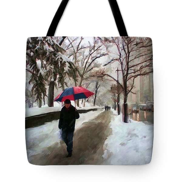 Snowfall In Central Park Tote Bag