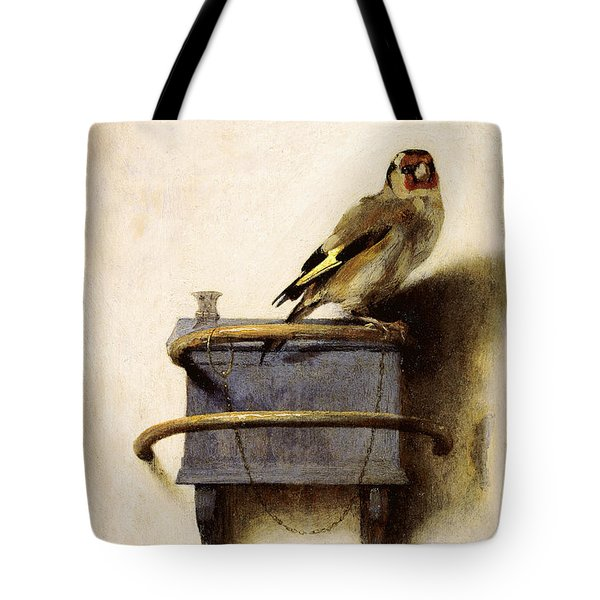 Tote Bag featuring the painting The Goldfinch by Carel Fabritius