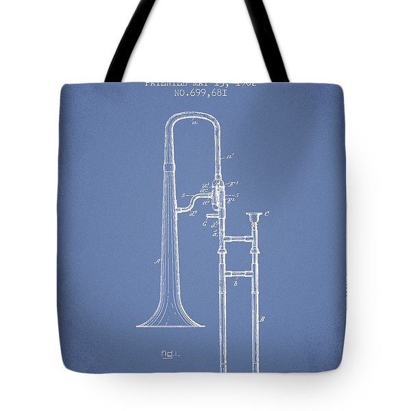 Trombone Patent From 1902 - Light Blue Tote Bag by Aged Pixel