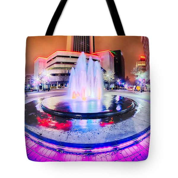 Tulsa City Skyline Around Downtown Streets Tote Bag
