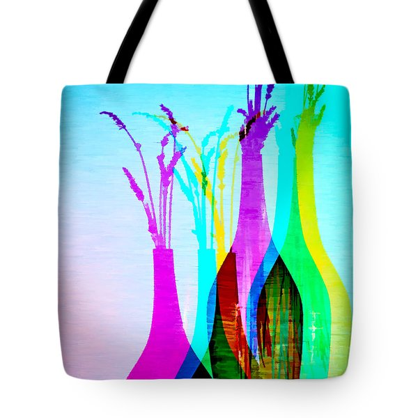 4 Vases In Colored Light Silhouettes Tote Bag