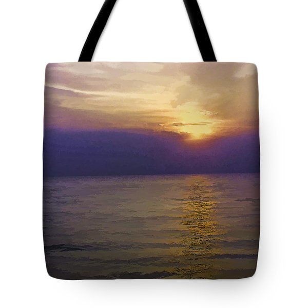 View Of Sunset Through Clouds Tote Bag