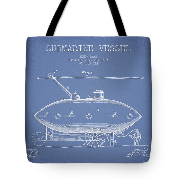 Vintage Submarine Vessel Patent From 1897 Tote Bag
