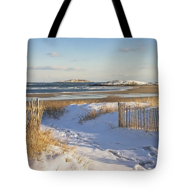Winter At Popham Beach State Park Maine Tote Bag