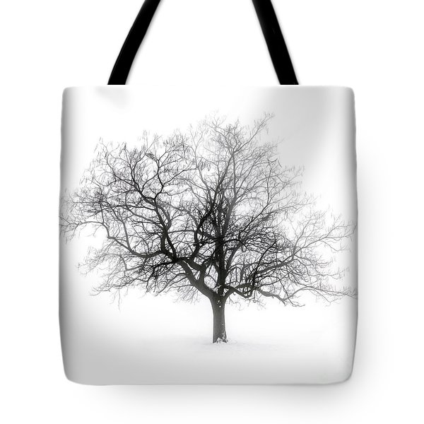 Winter Tree In Fog Tote Bag