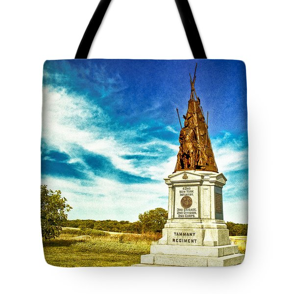 42nd New York Infantry Memorial Gettysburg Battleground Tote Bag by Bob and Nadine Johnston