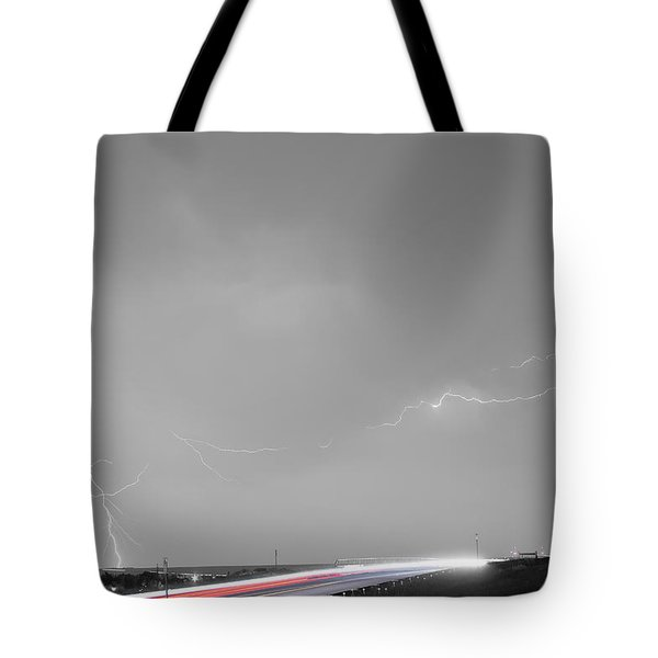 47 Street Lightning Storm Light Trails View Bwsc Tote Bag by James BO  Insogna