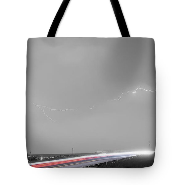 47 Street Lightning Storm Light Trails View Panorama Tote Bag by James BO  Insogna