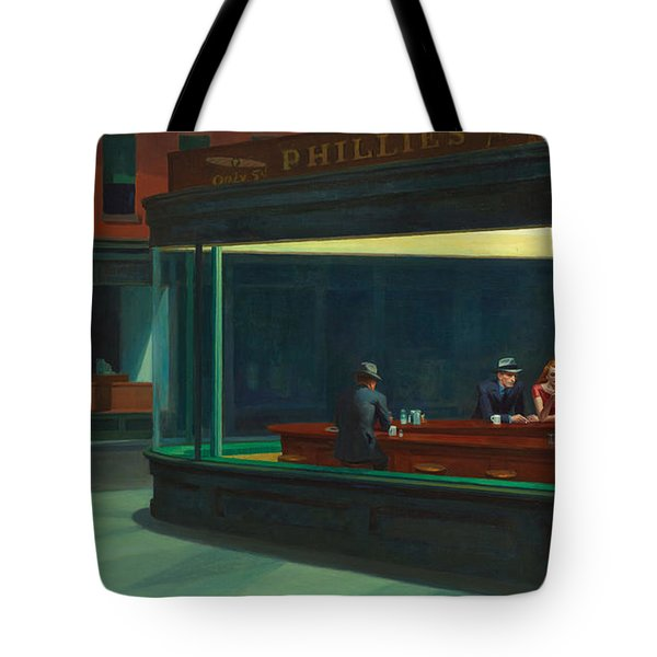 Tote Bag featuring the painting Nighthawks by Edward Hopper