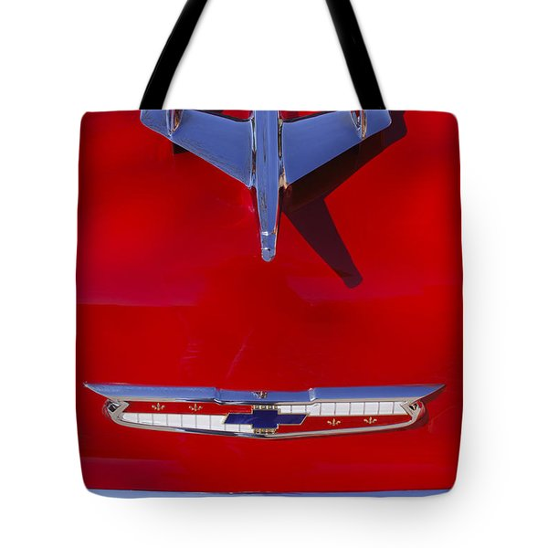 Tote Bag featuring the photograph 1955 Chevrolet Belair Nomad Hood Ornament by Jill Reger