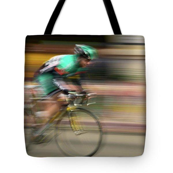 Amateur Men Bicyclists Competing Tote Bag
