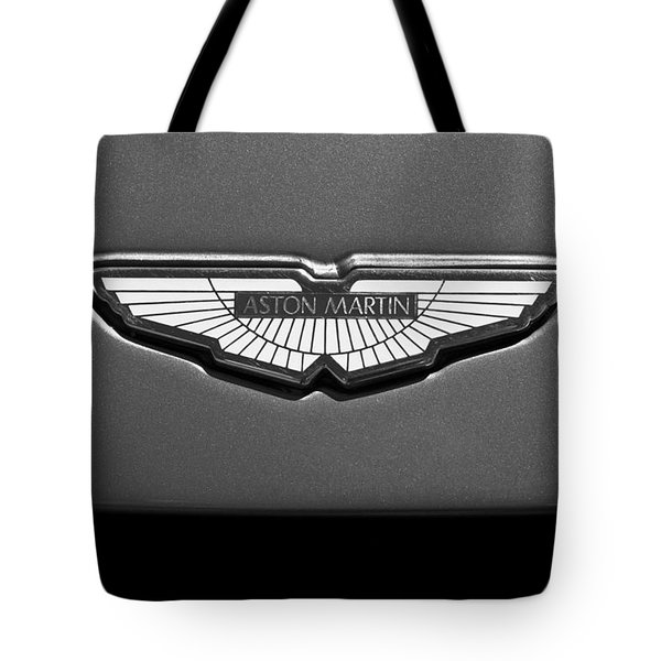 Tote Bag featuring the photograph Aston Martin Emblem by Jill Reger