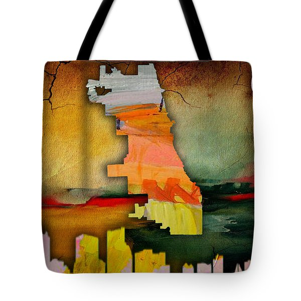 Chicago Map And Skyline Watercolor Tote Bag