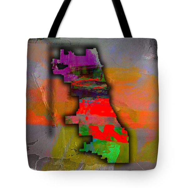 Chicago Map Watercolor Tote Bag