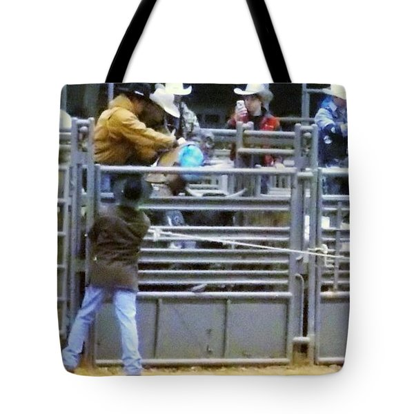 Tote Bag featuring the photograph 5 Easy Steps To Bull Riding by John Glass