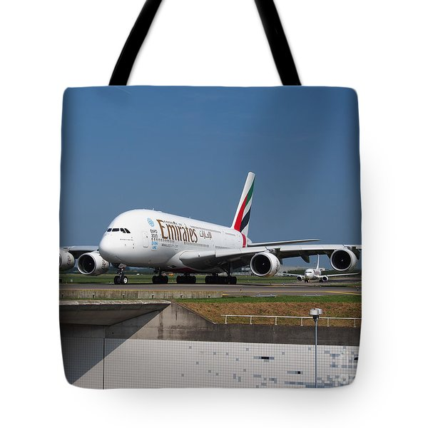 Emirates Airbus A380 Tote Bag by Paul Fearn