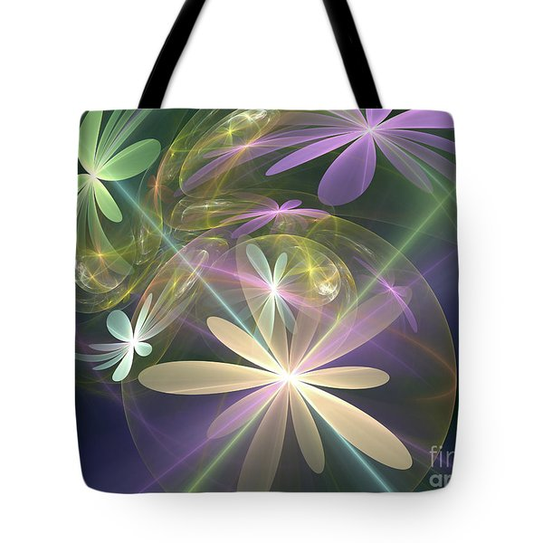 Tote Bag featuring the digital art Ethereal Flowers by Svetlana Nikolova