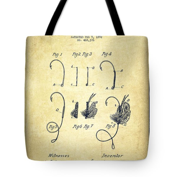 Fishing Fly Patent Drawing From 1892 Tote Bag