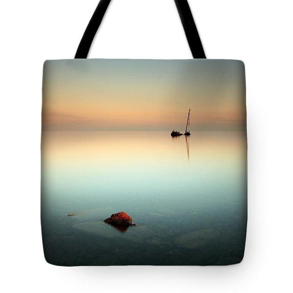 Flat Calm Shipwreck  Tote Bag