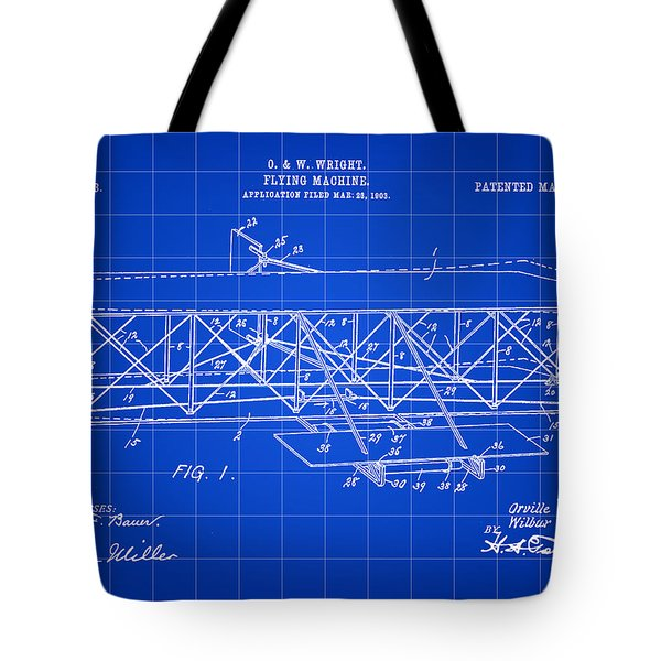 Flying Machine Patent 1903 - Blue Tote Bag