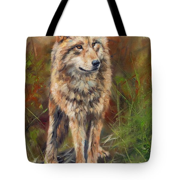 Grey Wolf Tote Bag by David Stribbling