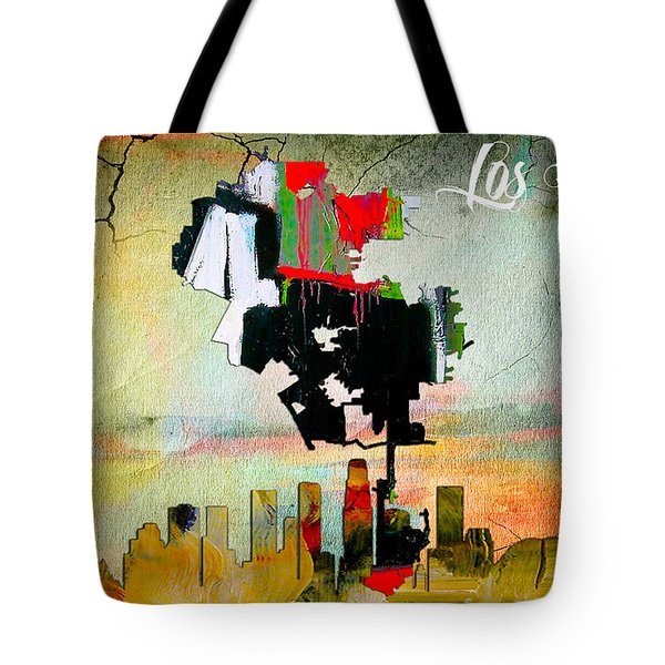 Los Angeles Map And Skyline Tote Bag