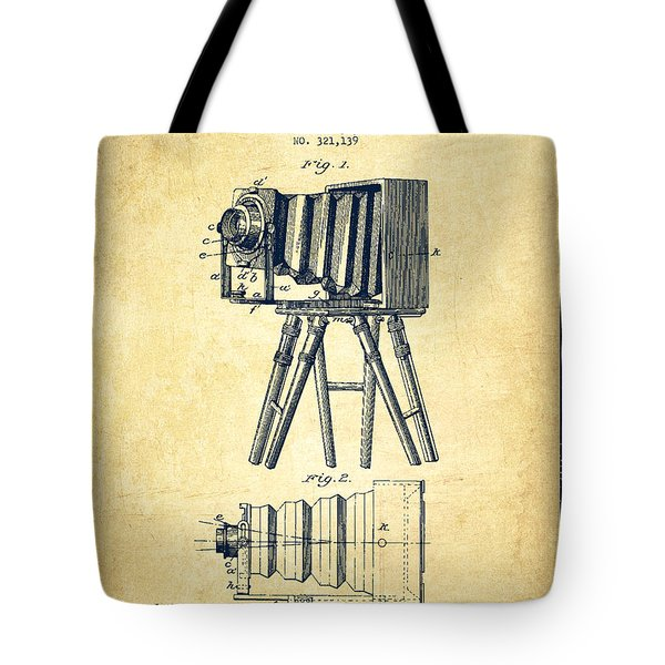 Photographic Camera Patent Drawing From 1885 Tote Bag