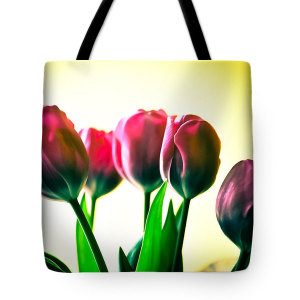 5 Pink Tulips Tote Bag by Ronda Broatch