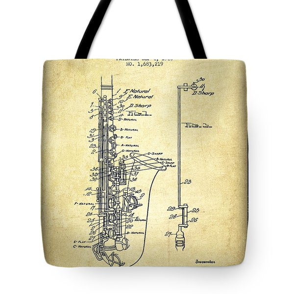 Saxophone Patent Drawing From 1928 Tote Bag by Aged Pixel