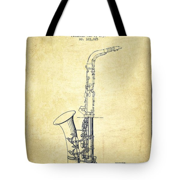 Saxophone Patent Drawing From 1937 - Vintage Tote Bag by Aged Pixel