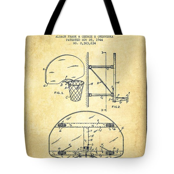 Vintage Basketball Goal Patent From 1944 Tote Bag by Aged Pixel
