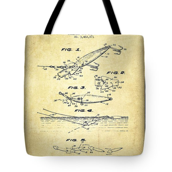 Vintage Fishing Lure Patent Drawing From 1969 Tote Bag