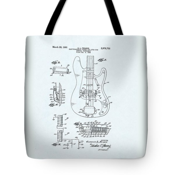 Guitar Patent Drawing On Blue Background Tote Bag