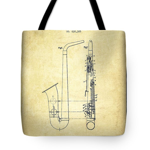 Saxophone Patent Drawing From 1899 - Vintage Tote Bag by Aged Pixel