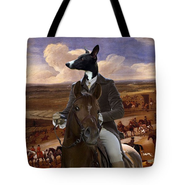 Whippet  Art Canvas Print Tote Bag