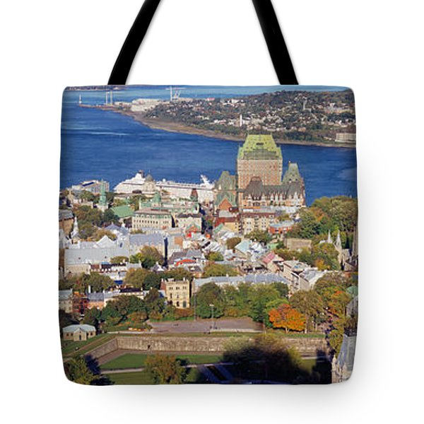 High Angle View Of Buildings In A City Tote Bag
