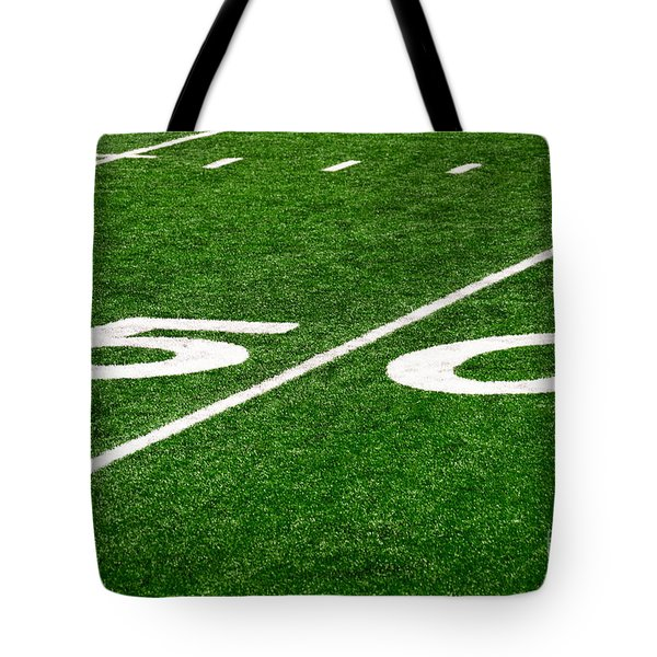 50 Yard Line On Football Field Tote Bag
