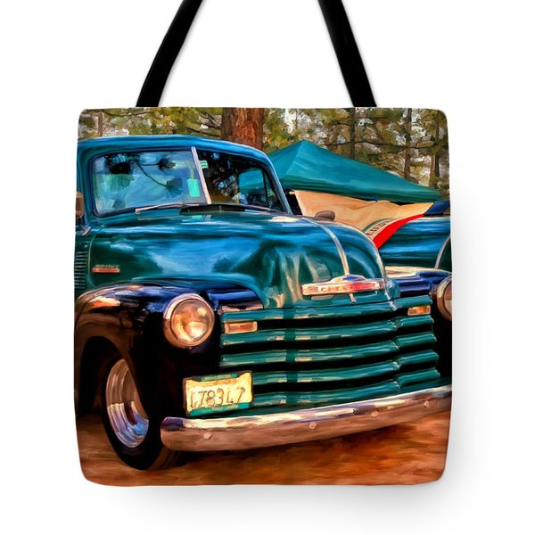 Tote Bag featuring the painting '51 Chevy Pickup With Teardrop Trailer by Michael Pickett